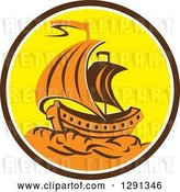Vector Clip Art of Retro Orange Galleon Tall Ship in a Brown White and Yellow Circle by Patrimonio