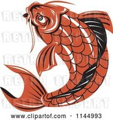 Vector Clip Art of Retro Orange Koi Fish by Patrimonio