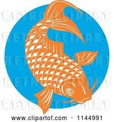 Vector Clip Art of Retro Orange Koi Fish over a Blue Circle by Patrimonio