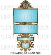 Vector Clip Art of Retro Ornate Blue and Gold Floral Frame with Copyspace by AtStockIllustration