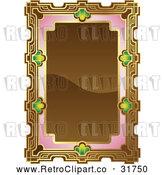 Vector Clip Art of Retro Ornate Brown, Pink and Gold Frame with Copyspace by AtStockIllustration