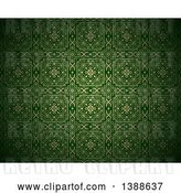 Vector Clip Art of Retro Ornate Gold and Green Pattern Background by Dero