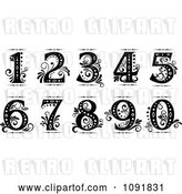 Vector Clip Art of Retro Ornate Old Fashioned Numbers by Vector Tradition SM
