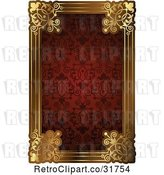 Vector Clip Art of Retro Ornate Red Pattern and Gold Frame with Copyspace by AtStockIllustration
