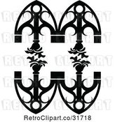 Vector Clip Art of Retro Ornate Wrought Iron Design Element with Flowers by Frisko