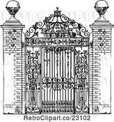Vector Clip Art of Retro Ornate Wrought Iron Gate by Prawny Vintage