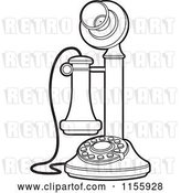 Vector Clip Art of Retro Outlined Candlestick Telephone by Lal Perera
