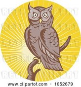Vector Clip Art of Retro Owl over Yellow Rays Logo by Patrimonio