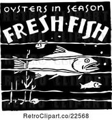 Vector Clip Art of Retro Oysters in Season Fresh Fish Sign by BestVector