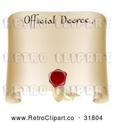 Vector Clip Art of Retro Paper Official Decree Scroll with a Red Wax Seal and Copyspace by AtStockIllustration