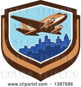 Vector Clip Art of Retro Passenger DC10 Airplane Flying over a City in a Shield by Patrimonio