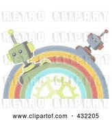 Vector Clip Art of Retro Pastel Sketched Half Circle of Robots Around a Gear by Mheld