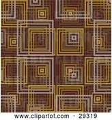 Vector Clip Art of Retro Pattern of Gray, Brown, Orange and Yellow Square Background by KJ Pargeter