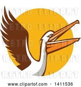 Vector Clip Art of Retro Pelican Bird Flying over a Yellow Circle by Patrimonio