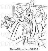 Vector Clip Art of Retro People on a Crowded Bus by Picsburg