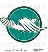 Vector Clip Art of Retro Pigeon Flying in a Teal and Turquoise Circle by Patrimonio