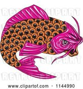 Vector Clip Art of Retro Pink and Orange Koi Fish by Patrimonio