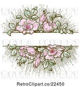 Vector Clip Art of Retro Pink Flower and Green Leaf Background with Copyspace 1 by BestVector