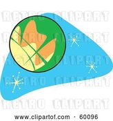 Vector Clip Art of Retro Planet Mars on Blue with Stars by Xunantunich