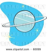Vector Clip Art of Retro Planet Neptune on Blue with Stars by Xunantunich