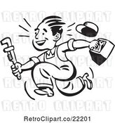 Vector Clip Art of Retro Plumber or Handy Guy Running with Tools by BestVector