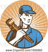 Vector Clip Art of Retro Plumber over Orange Rays Logo by Patrimonio