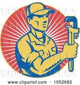 Vector Clip Art of Retro Plumber over Red Rays Logo by Patrimonio