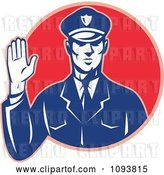 Vector Clip Art of Retro Police Guy Holding up a Hand to Stop by Patrimonio