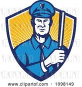 Vector Clip Art of Retro Police Officer Holding a Baton in a Shield or Rays by Patrimonio