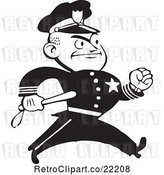 Vector Clip Art of Retro Policeman Walking with a Baton by BestVector
