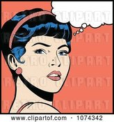 Vector Clip Art of Retro Pop Art Lady in Deep Thought by Brushingup