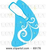 Vector Clip Art of Retro Pouring Bottle of Milk over a Blue Starry Sky by Xunantunich