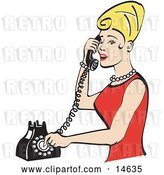 Vector Clip Art of Retro Pretty Blond Lady with Tall Hair, Wearing Pearls and a Red Dress and Talking on a Rotary Dial Landline Telephone by Andy Nortnik