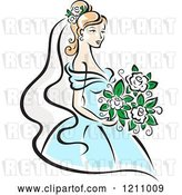 Vector Clip Art of Retro Pretty Bride in a Blue Gown by Vector Tradition SM