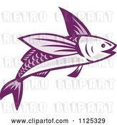 Vector Clip Art of Retro Purple Flying Fish by Patrimonio