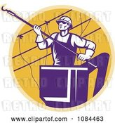Vector Clip Art of Retro Purple Lineman Working on Power Cables by Patrimonio