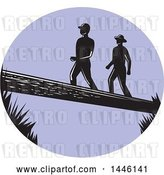 Vector Clip Art of Retro Purple Oval with Silhouetted Woodcut Men Crossing a Log by Patrimonio