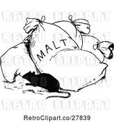 Vector Clip Art of Retro Rat and Bag of Malt by Prawny Vintage