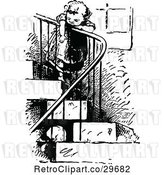 Vector Clip Art of Retro Reaching over Stair Railing by Prawny Vintage