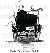 Vector Clip Art of Retro Rear View of a Sketched Couple in a Car by Prawny Vintage