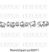 Vector Clip Art of Retro Rear View of Running Pigs by Prawny Vintage