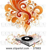 Vector Clip Art of Retro Record Player with Vines, Red and Orange Waves of Sound and Circles by OnFocusMedia