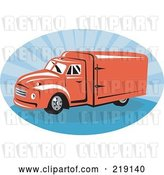 Vector Clip Art of Retro Red and Blue Delivery Van Logo by Patrimonio