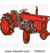 Vector Clip Art of Retro Red and Blue Woodcut Farm Tractor by Patrimonio