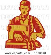 Vector Clip Art of Retro Red and Yellow Woodcut Male Tailor Operating a Sewing Machine by Patrimonio