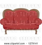 Vector Clip Art of Retro Red Couch by BNP Design Studio