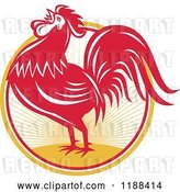 Vector Clip Art of Retro Red Crowing Rooster over a Sunrise Circle by Patrimonio