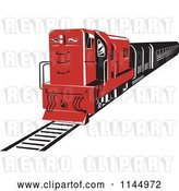 Vector Clip Art of Retro Red Diesel Train by Patrimonio