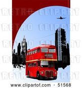 Vector Clip Art of Retro Red Double Decker Bus near City Buildings Under a Plane by