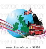 Vector Clip Art of Retro Red Double Decker Bus Passing Big Ben, on an Urban Circle with Continents and Waves by